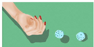 Gambling - glass dice. Gambling, female hand throwing two glass dice stock illustration