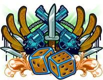 Gambling Guns Wings and Knifes Stock Images