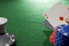 Gambling Hand with Ace stock image
