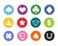 Gambling icons, casino icons, money icons, poker icons Stock Images