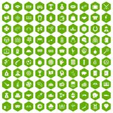 100 gambling icons hexagon green. 100 gambling icons set in green hexagon isolated vector illustration Royalty Free Stock Images