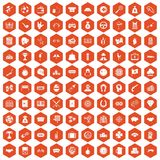 100 gambling icons hexagon orange Royalty Free Stock Images