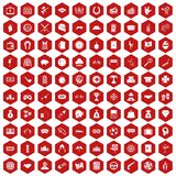 100 gambling icons hexagon red. 100 gambling icons set in red hexagon isolated vector illustration Stock Images