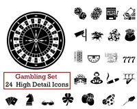 24 Gambling Icons. Set of 24 Gambling Icons in Black Color Royalty Free Stock Photos
