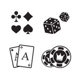 Gambling icons set. Card and casino Stock Image