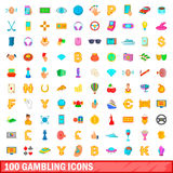 100 gambling icons set, cartoon style. 100 gambling icons set in cartoon style for any design vector illustration Stock Photos
