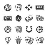 Gambling icons set, casino and card, poker game Stock Image