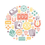 Gambling icons set, casino and card, poker game Royalty Free Stock Photo