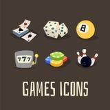 Gambling icons set Stock Photos