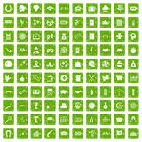 100 gambling icons set grunge green Stock Photo