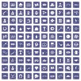 100 gambling icons set grunge sapphire. 100 gambling icons set in grunge style sapphire color isolated on white background vector illustration Stock Photos