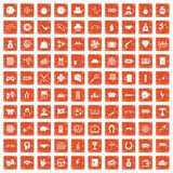 100 gambling icons set grunge orange. 100 gambling icons set in grunge style orange color isolated on white background vector illustration Stock Photo