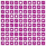 100 gambling icons set grunge pink. 100 gambling icons set in grunge style pink color isolated on white background vector illustration Royalty Free Stock Photography