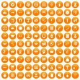 100 gambling icons set orange. 100 gambling icons set in orange circle isolated on white vector illustration Vector Illustration
