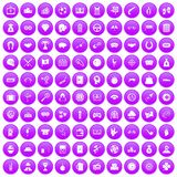 100 gambling icons set purple. 100 gambling icons set in purple circle isolated on white vector illustration Stock Illustration