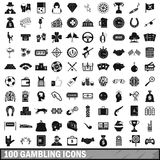 100 gambling icons set, simple style. 100 gambling icons set in simple style for any design vector illustration Stock Images