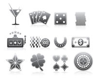 Gambling Icons Silhouette Series Set Stock Photography