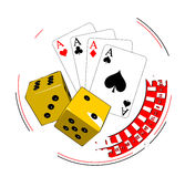 Gambling illustration. With casino elements royalty free illustration