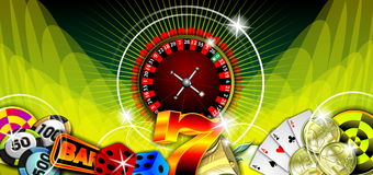 Gambling illustration with casino elements. On green background stock illustration