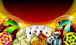 Gambling illustration with casino elements. On red background royalty free illustration
