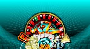 Gambling illustration with casino elements. On blue background stock illustration