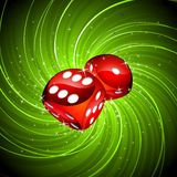 Gambling illustration with red dices Royalty Free Stock Photos