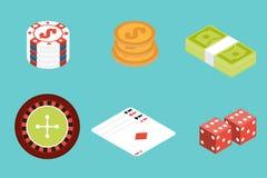 Gambling isometric icon set. Stock Images