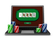 Gambling on line. One portable computer with poker fiches (3d render Stock Photos