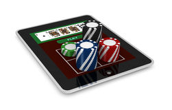 Gambling on line. One portable computer with poker fiches (3d render Stock Image