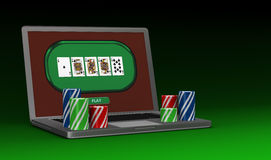 Gambling on line. One portable computer with poker fiches (3d render Stock Photo
