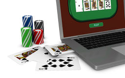 Gambling on line. One portable computer with poker fiches (3d render Royalty Free Stock Photography