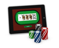 Gambling on line. One portable computer with poker fiches (3d render Royalty Free Stock Image