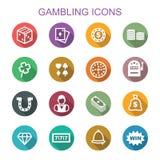Gambling long shadow icons Royalty Free Stock Photos