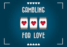 Gambling for love. Blue background with heart shape slot machine to gamble for love stock illustration