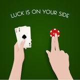 Gambling and luck, dealer, green cloth, fortune Stock Photos