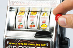 Gambling machine. Toy. Studio shot royalty free stock photography