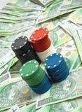Gambling money. Gambling chips on money background. Polish Zloty stock image