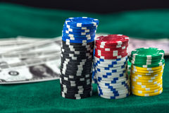 Gambling Money Chips. Gambling The Money Chips Photo royalty free stock image