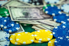 Gambling  Money Chips Royalty Free Stock Photo