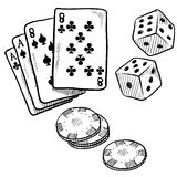 Gambling objects sketch Stock Photos