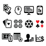 Gambling, online betting, casino icons set Royalty Free Stock Photo