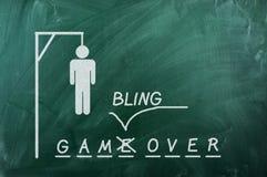 Gambling over. Gallows game on green blackboard and text Gambling  Over .Gambling addiction concept Royalty Free Stock Photo
