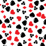 Gambling pattern. Pattern with playing cards symbols, seamless background Stock Photos