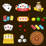 Gambling pictograms set. Deck of cards and casino, playing poker, venturesome game, dice  ace vector illustration Royalty Free Stock Photography
