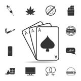Gambling playing cards iconSet of Human weakness and Addiction element icon. Premium quality graphic design. Signs, outline symbol. S collection icon for Royalty Free Stock Photo