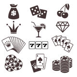 Gambling, poker card game, casino, luck vector icons set Royalty Free Stock Image