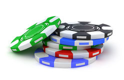 Gambling poker chips different colors Royalty Free Stock Image