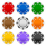 Gambling Poker Chips Set. Collection of 9 colorful poker chips, isolated on white background. Eps file available royalty free illustration