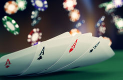 Gambling, poker game. Close up view of poker cards with fiches on background (3d render Royalty Free Stock Image