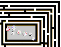 Gambling problem, dice and maze. Royalty Free Stock Photos